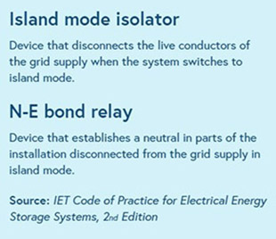 Island mode isolator and N-E bond relay pop out box